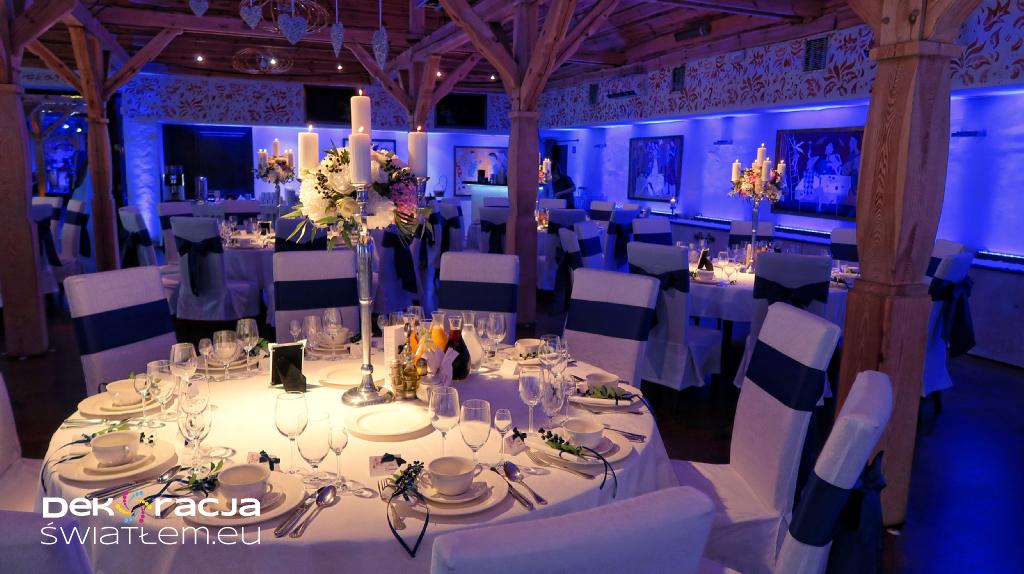 Oświetlenie dekoracyjne sali weselnej